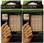 2 x REVLON FIT & PRETTY FALSE NAIL TIP FRENCH MANICURE PINK SHORT LENGHT NATURAL NAILS TIPS 91011